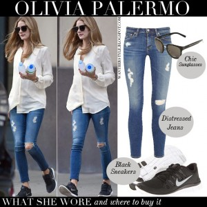 olivia palermo in white shirt blue distressed skinny jeans black nike sneakers with black dior sunglasses june 27 2014 new york what she wore streetstyle outfit
