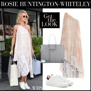 rosie huntington whiteley pale rose check print asymmetric one shoulder maxi dress white sneakers in london july 3 2015 what she wore summer style